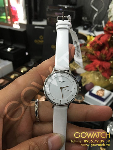 SKAGEN Anita White Dial White Leather Ladies Watch