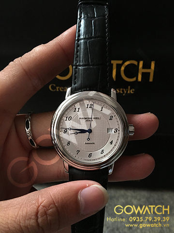 RAYMOND WEIL Maestro White Dial Black Leather Men's Watch