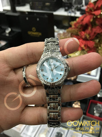 BULOVA Diamond Light Blue Dial Stainless Steel Ladies Watch