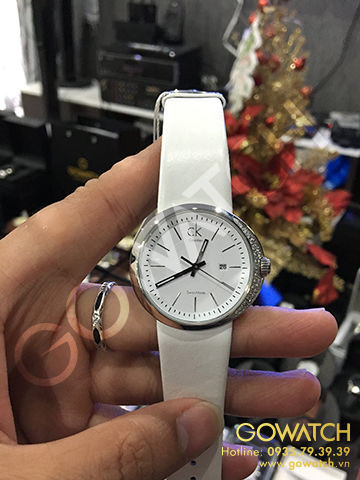 Calvin Klein women's watch with white leather band