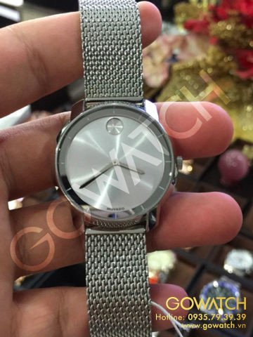 MOVADO Bold Silver Dial Stainless Steel Mesh Ladies Watch