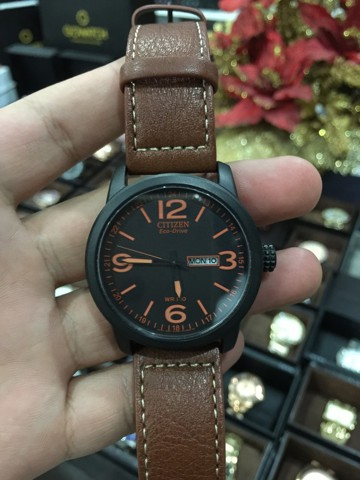 CITIZEN Eco Drive Black Dial Brown Leather Men's Watch