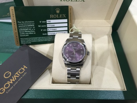 NEW 2015 Rolex Oyster Perpetual Red Grape Automatic Steel Watch