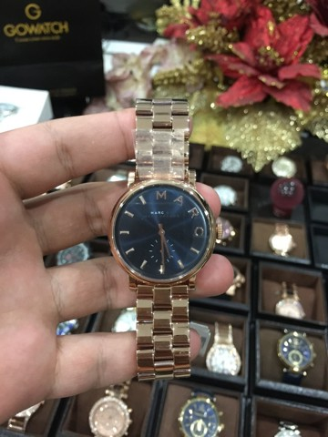 MARC BY MARC JACOBS Baker Navy Dial Rose Gold-tone Steel Ladies Watch