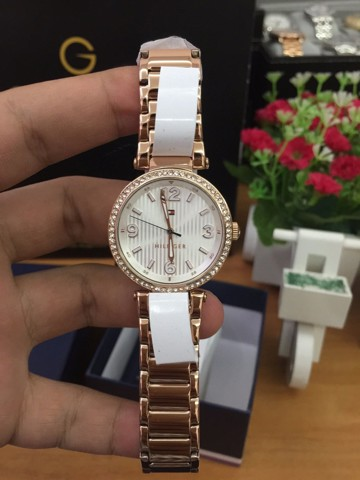 TOMMY HILFIGER Lynn White Dial Rose Gold-Tone Stainless Steel Ladies Watch