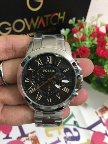 FOSSIL GRANT CHRONOGRAPH BLACK DIAL STAINLESS STEEL MEN'S WATCH
