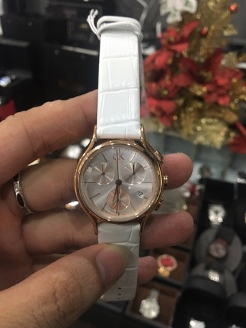 Calvin Klein Women With White Leather Watch