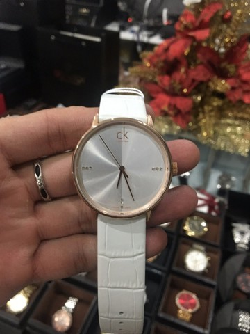 Calvin Klein Rose Gold Tone Accent Big Diamonds And White Dial K2Y2X6KW