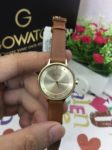 SKAGEN Anita Champagne Dial Brown Leather Ladies Watch