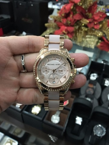 MICHAEL KORS Blair Chronograph Rose Dial Rose Gold-tone and Acetate Ladies Watch
