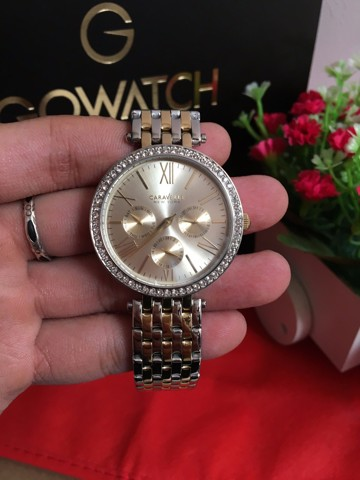 Caravelle New York Women's  Analog Display Japanese Quartz Two Tone Watch