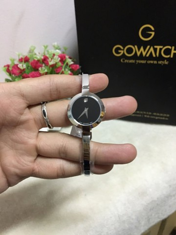 Movado Bela Black Dial Stainless Steel Bangle Ladies Watch