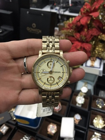 FOSSIL Chronograph Gold Dial Gold-tone Ladies Watch