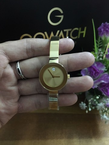 MOVADO Bold Champagne Sunray Dial Yellow Gold Ion-Plated Stainless Steel Ladies Watch