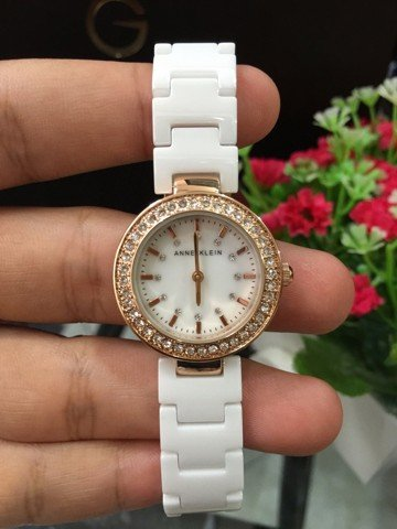 Anne Klein Women's 1986RGWT Swarovski Crystal Accented Rose Gold-Tone