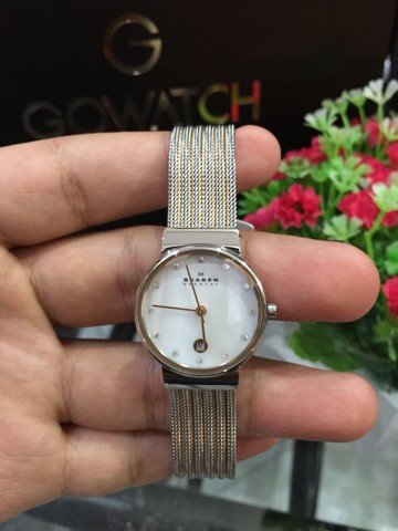 SKAGEN Ancher Mother of Pearl Dial Two-tone Mesh Ladies 355SSGS