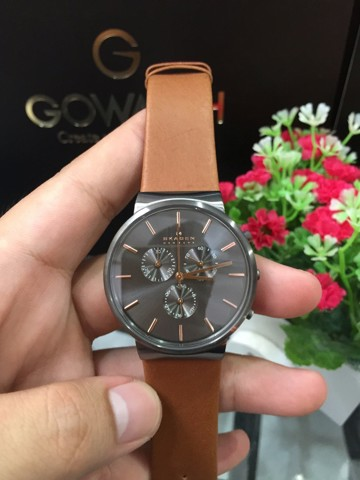 SKAGEN Ancher Chronograph Grey Dial Brown Leather Men's Watch SKW6106