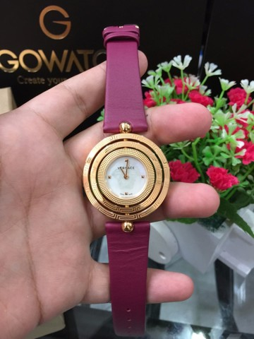 Verrsace Women's VQT030015 Eon Gold IP MOP Dial Maroon Leather Wristwatch