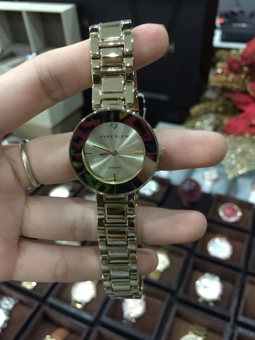 Anne Klein AK/2080CHGB Gold Tone Bracelet Dial Diamond Women's Watch
