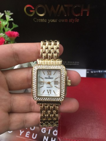 Peugeot Rectangle Crystal Bezel Roman Numeral Dial 14K Gold Plated Bracelet Dress Watch 7080G