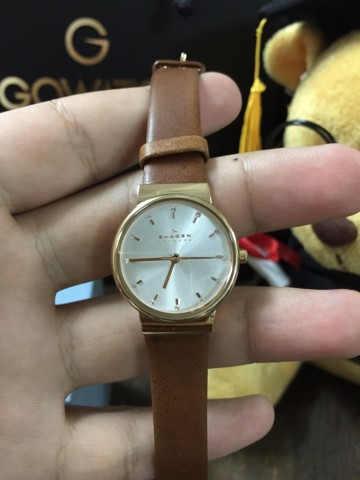 Skagen Ancher Silver Dial Brown Leather Ladies Watch SKW2260