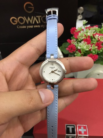 Tissot Pinky White Dial Blue Leather Ladies Watch T084.210.16.017.02