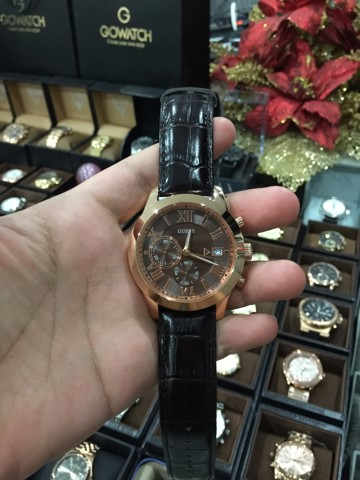 GUESS Men's Chronograph Brown Croc-Embossed Leather Strap Watch 44mm U0669G1
