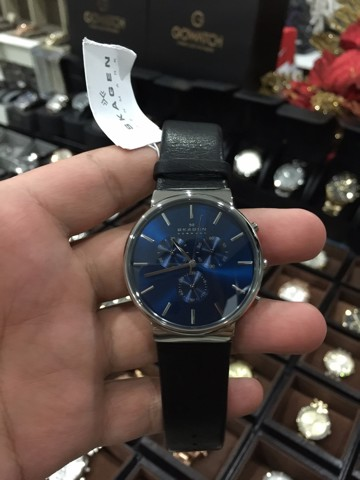 Skagen Ancher Chronograph Blue Dial Black Leather Men's SKW6105