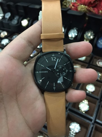 Skagen Rungsted Black Dial Tan Leather Men's Watch SKW6257