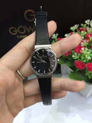 Skagen Ancher Black Dial Black Leather Ladies Watch SKW2193