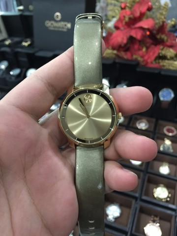 MOVADO Bold Yellow Gold Sunray Dial Green Leather Laides Quartz Watch 3600312