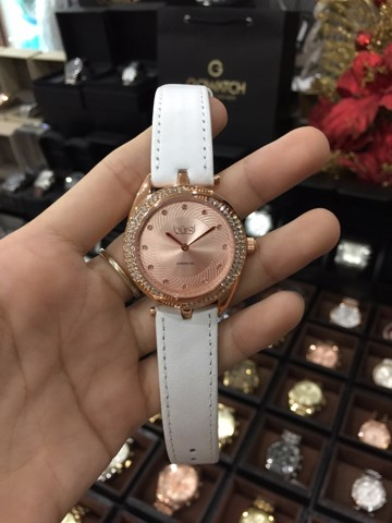 Burgi Women's BUR122WTR Swirl Design Rose Gold and White Leather Strap Watch