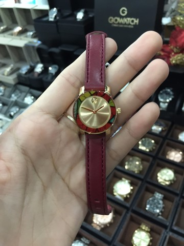 MOVADO Bold Gold-Tone Sunray Burgundy Leather Ladies Watch 3600343