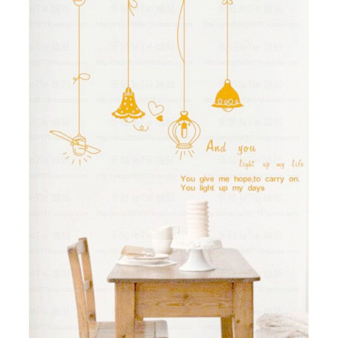 #DL009 Cute retro chandelier - Decal dán tường - 1