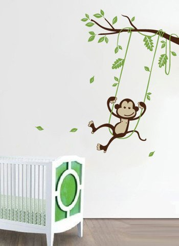 #BA014 Monkey Swinging on a Tree - Decal dán tường - 1