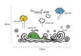 #BO002 The Story of Whale - Decal dán tường - 2