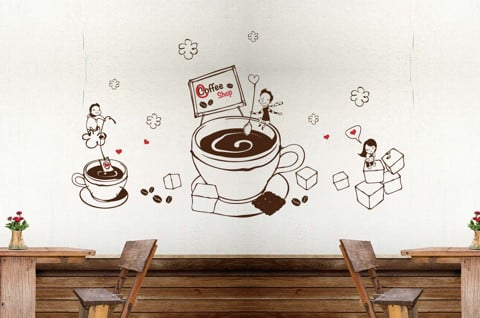#DC008 LOVE WITH COFFEE - Decal dán tường - 1