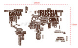 #FT001 World Map in Words - Decal dán tường - 2
