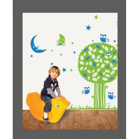 #BT013 Night Owl Tree - Decal dán tường - 1