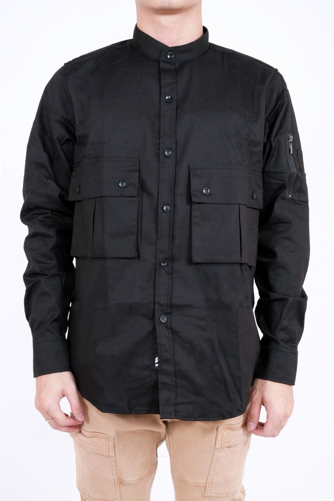 BOMBER SHIRT 2POCK - BLACK