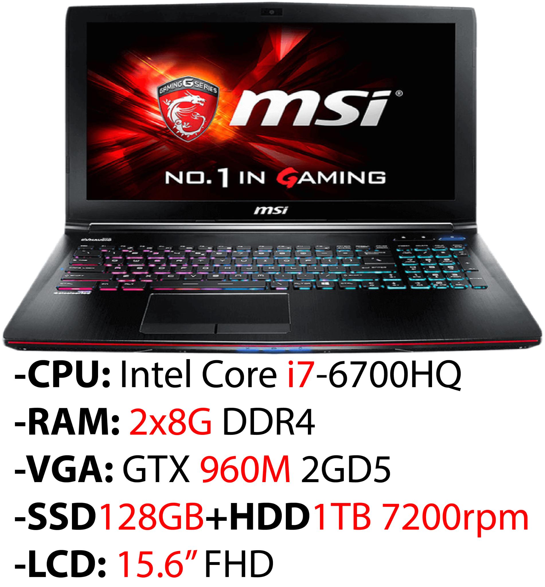 MSI GE62 6QD Apache Pro 1297XVN