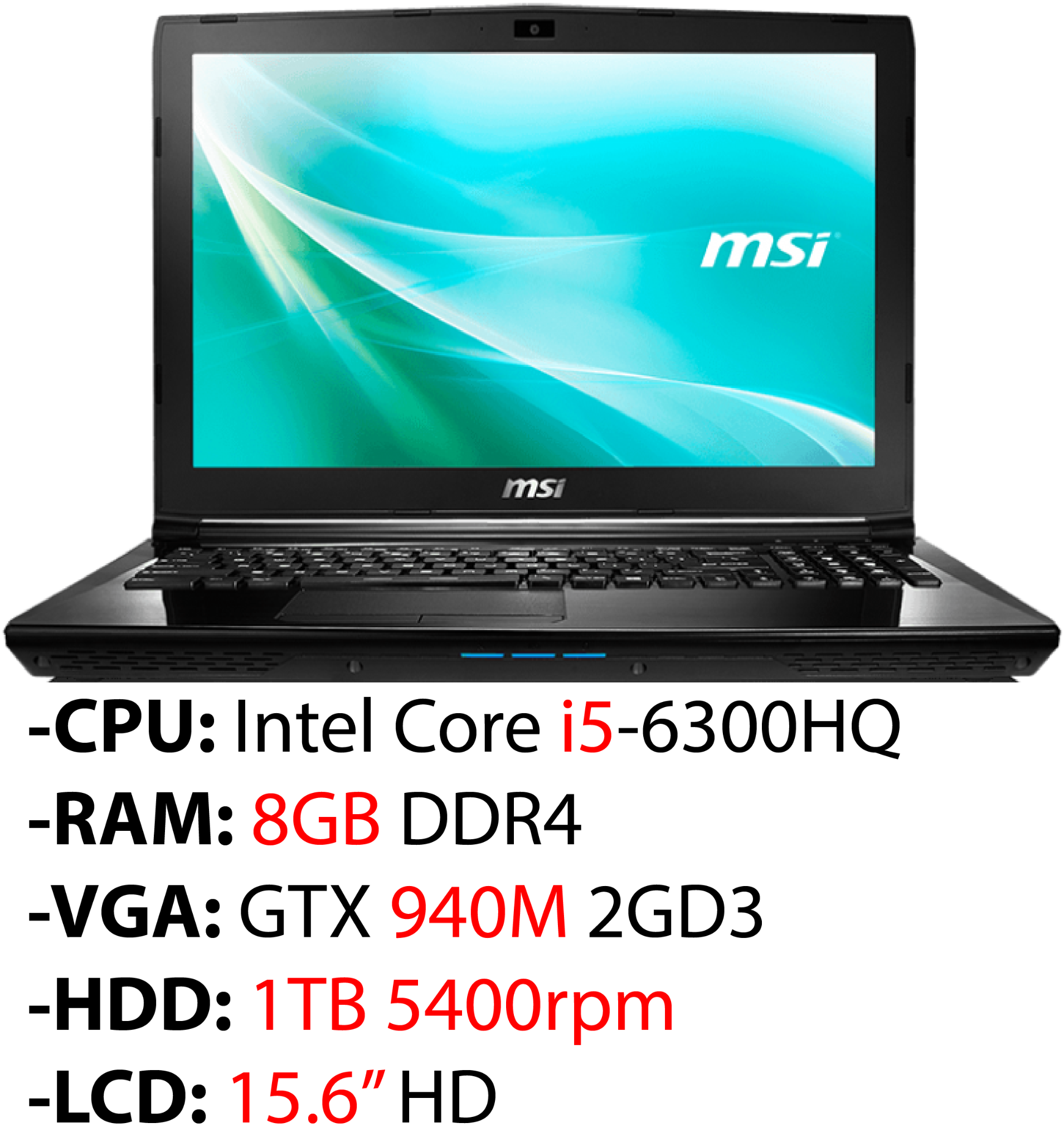 Laptop Gaming MSI CX62 2QD 257XVN