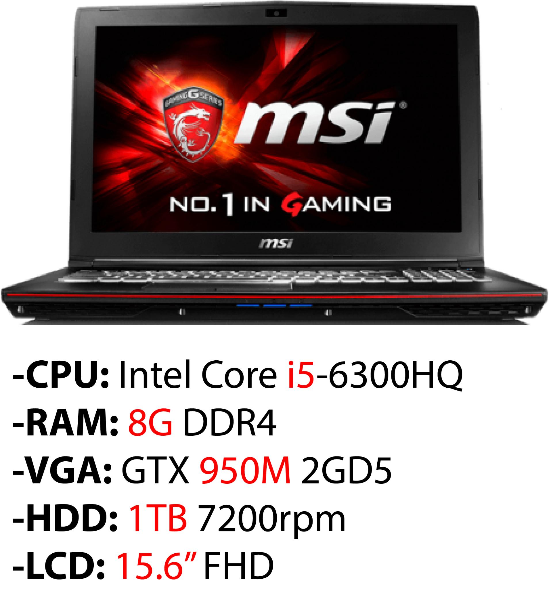Laptop Gaming MSI GP62 6QE 890XVN