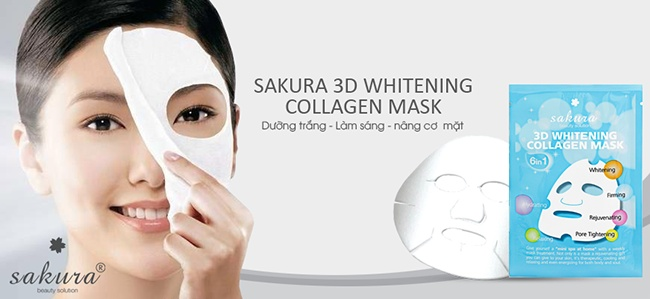 cham soc da bang mat na trang da nang co sakura 3d whitening collagen mask