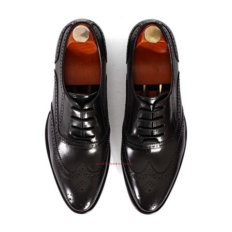 GIAYNAMNUNIKEADIDAS - Giày Nam Luigi waxing full brogues oxfords - BLACK - LG96-95