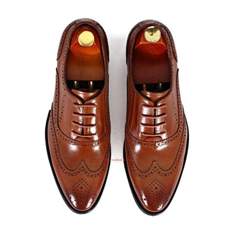GIAYNAMNUNIKEADIDAS - Giày Nam Luigi waxing full brogues oxfords - BROWN - LG96-96