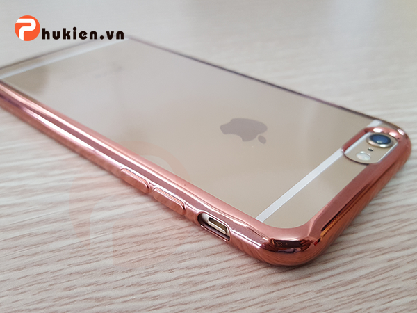 Ốp silicon dẻo viền màu iPhone 6/ 6S (Rose Gold)