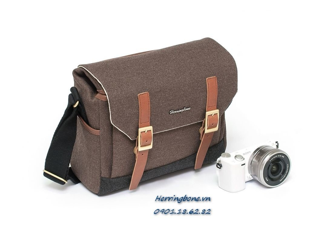 Herringbone Postman Small Brown