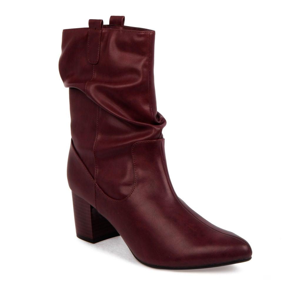 Giày Boots 5cm cổ trung mũi nhọn gót vuông BO05001