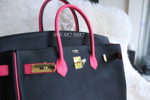03840717c3d Hermes Birkin 40CM Togo Leather Two Tone Black Pink Limited – Túi ...